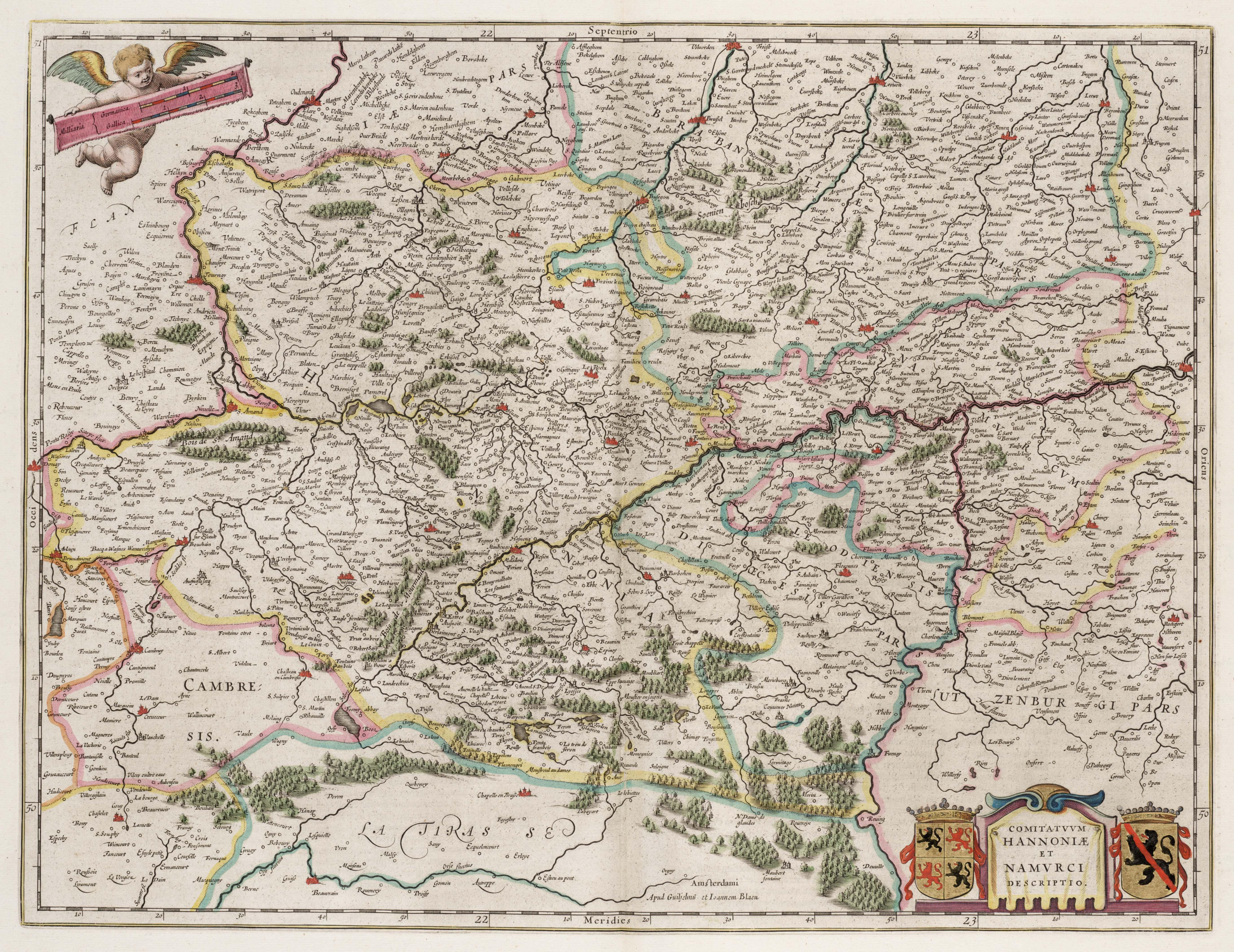 1664-COMITATVVM HANNONIAE ET NAMVRCI DESCRIPTIO  Amsterdami, Apud Guiljelmum et Ioannem Blaeuc