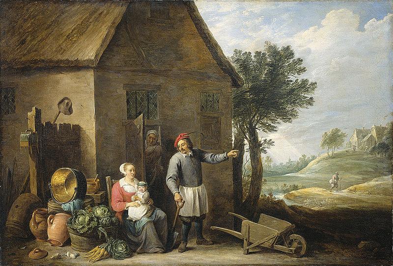 800px-David_Teniers_-_Een_boer_met_zijn_vrouw_en_kind_voor_de_boerderij