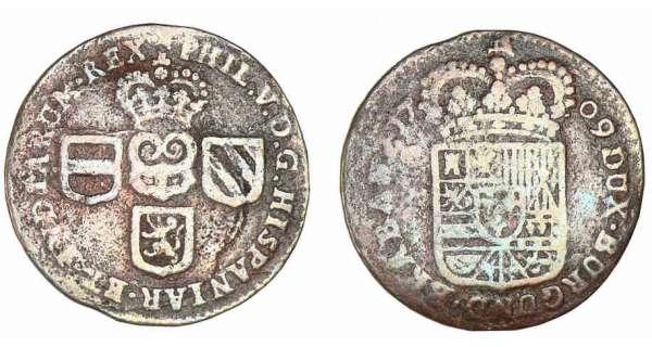 belgique-namur-philippeV-liard-Philippe V (1700-1711). AVERS  PHIL V D G HISPANIA ET INDIARUM REX. Briquet couronné entouré de trois blasons