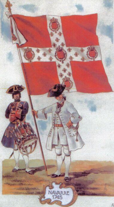 Tambour et porte-enseigne du régiment de Navarre en 1745.
