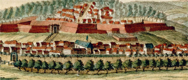 Vue de la ville de Charleroy a la Sambre1740